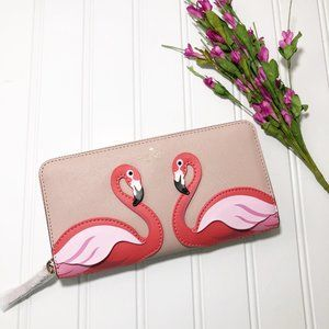 Kate Spade By the Pool Pink Flamingo Zip Wallet